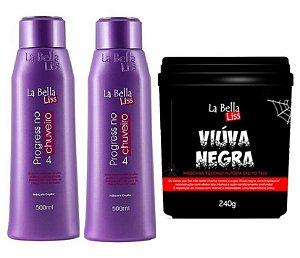 Kit 2 Progressivas No Chuveiro 500ml + Viúva Negra Máscara Reconstrução La Bella Liss 240g
