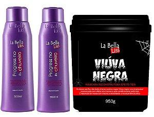 Kit 2 Progressiva No Chuveiro 500ml + Viúva Negra Máscara Reconstrução La Bella Liss 950g