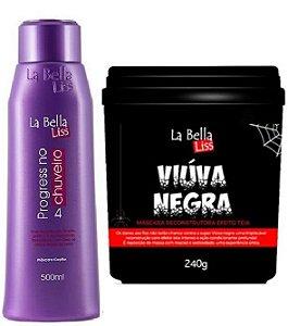 Kit Progressiva No Chuveiro 500ml + Viúva Negra Máscara De Reconstrução 240g La Bella Liss