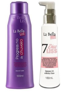 Kit Progressiva no Chuveiro 500ml + 7 Dias Liss Leave-in Efeito Liso 160ml La Bella Liss