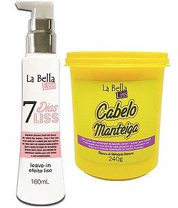 Kit 7 Dias Liss Leave-in Efeito Liso 160ml + Máscara de Hidratação Cabelo Manteiga 240g La Bella Liss