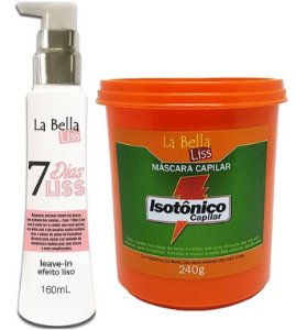 Kit 7 Dias Liss Leave-in Efeito Liso 160ml + Máscara de Nutrição Isotônico Capilar 240g La Bella Liss