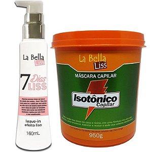 Kit 7 Dias Liss Leave-in Efeito Liso 160ml + Máscara de Hidratação Isotônico Capilar 950g La Bella Liss