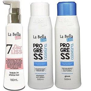 Kit 7 Dias Liss Leave-in Efeito Liso 160ml + Escova Progressiva Caseira 500ml 2 passos La Bella Liss