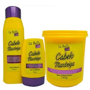 Cabelo Manteiga Kit Shampoo 500ml + Leave-in 150g + Máscara 240g