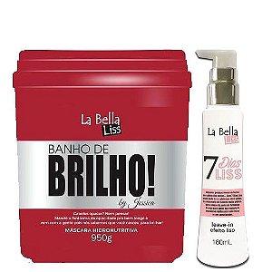 Banho de Brilho Máscara hidronutritiva 950g + Leave-in 7 Dias Liss 160ml La Bella Liss