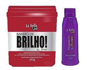 Banho De Brilho Máscara Hidronutritiva 240g + Progressiva No Chuveiro 100ml La Bella Liss