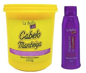 Cabelo Manteiga Máscara de Nutrição Profunda 240g + Progressiva No Chuveiro 100ml La Bella Liss