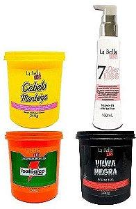 Cronograma Capilar (Cabelo Manteiga, Isotônico e Viúva Negra 240g cada) + 7 Dias Liss Leave-in 160ml La Bella Liss
