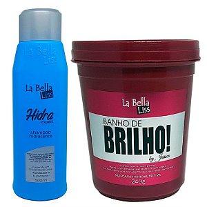 Shampoo Hidra Expert 500ml + Banho De Brilho Máscara Hidronutritiva 240g La Bella Liss