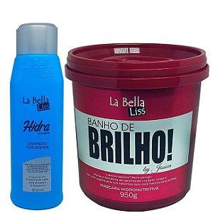 Shampoo Hidra Expert 500ml + Banho de Brilho Máscara Hidronutritiva 950g La Bella Liss