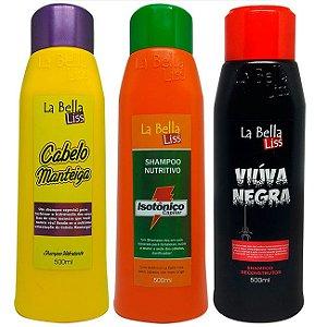 Kit 3 Shampoos La Bella Liss (Cabelo Manteiga, Isotônico Capilar e Viúva Negra) 500ml cada