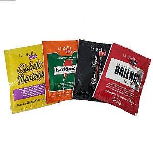 Sachês Kit Completo Máscaras De Tratamento (Cabelo Manteiga, Isotônico Capilar, Viúva Negra e Banho De Brilho) 4x50g Cada La Bella Liss