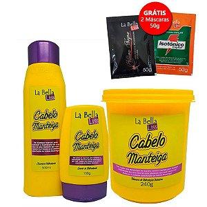 Cabelo Manteiga Kit Shampoo 500ml + Leave-in 150g + Máscara 240g GRÁTIS 2 Sachês 50g