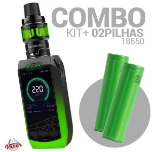 COMBO Kit Polar 220w - Vaporesso + 2 Bateria/Pilha 18650