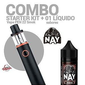 COMBO Kit Vape PEN 22 - Smok + 1 líquido Nay Sabores 0mg - 30ml