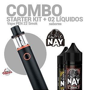 COMBO Kit Vape PEN 22 - Smok + 2 líquidos Nay Sabores 0mg - 30ml
