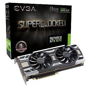 Placa de Vídeo VGA EVGA GeForce GTX 1070 ACX 3.0 8GB DDR5X 256BITS - 08G-P4-6171-KR