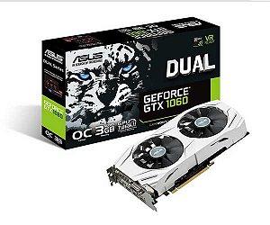 Placa de Vídeo Asus Geforce GTX 1060 OC 3Gb DDR5 192 Bits DUAL-GTX1060-O3G