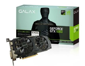 Placa de Vídeo Galax GeForce GTX 1060 ExOC Black 3Gb DDR5 192Bits  60NNH7DVM6O