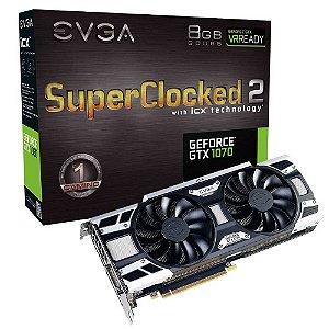 Placa de Vídeo EVGA Geforce GTX 1070 Sc2 Gaming 8Gb DDR5 08G-P4-6573-KR