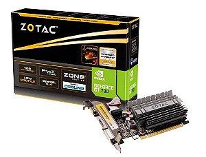 Placa de Vídeo Zotac GeForce GT 730 Low Profile 2Gb Ddr3 64Bit 1600Mhz 902Mhz 384 Cuda Cores Dvi Hdmi Vga
