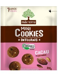 Mini Cookies Integrais Cacau e Castanhas 120g - Orgânico