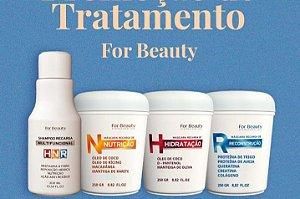 For Beauty HNR - Kit Cronograma Recarga de Hidratação, Nutrição e Reconstrução (4 Produtos)