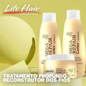 Kit Tratamento E Hidratação Mega Repair Life Hair 3x500ml