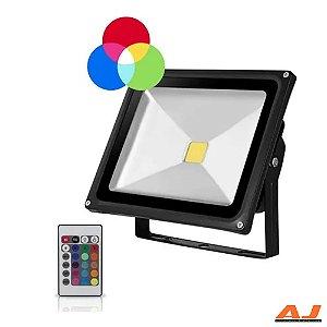 Refletor Led RGB Bivolt com controle remoto