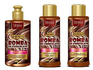 kit Shampoo + Condicionador + Creme de pentear Bomba de Chocolate 300ml