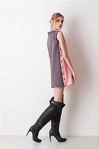 Vestido Bicolor Texturizado Rosa e Cinza