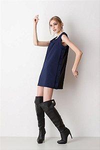 Vestido Bicolor Texturizado Azul Marinho e Preto