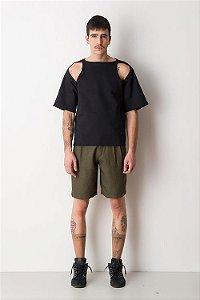 T-shirt Moletom com recorte no ombro Preto