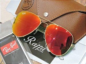 427211780 Oculos Ray Ban Aviador Rosa Espelhado RB3025 RB3026 - Raffa Modas