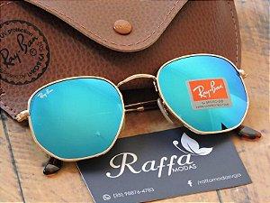 Oculos Ray Ban Hexagonal Azul RB3548 9b192dd16a