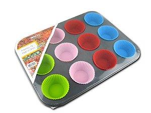 Forma de Cupcake Teflonada com 12 + Formas de Silicone