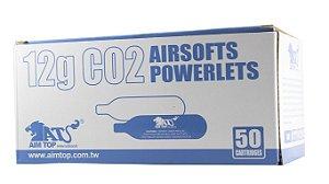 500 (QUINHENTAS) Cápsulas Descartáveis de CO2 - 12G - Aim Top