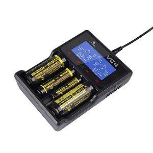 Carregador de Baterias, 4 Canais, Entrada 5V USB Modelo VC4