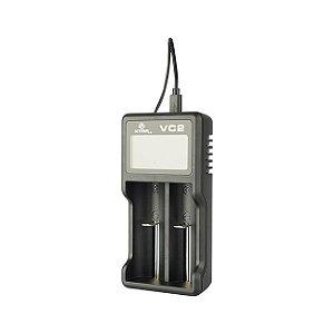 Carregador de baterias, 2 canais, entrada 5V USB, modelo VC2 Plus