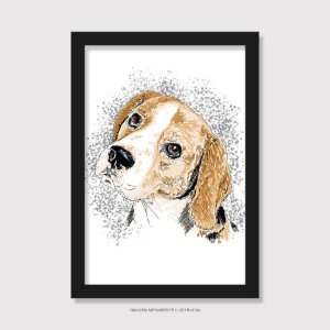 Quadro Beagle Pintura Digital