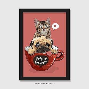 Quadro Gato e Cachorro - Friend Forever