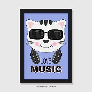 Quadro Gato Love Music - Modelo 3