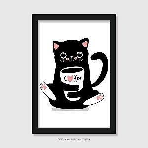 Quadro Gato Preto Café - Modelo 1