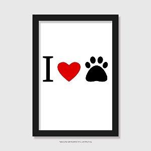 Quadro Cachorro I Love You - Coração e Patinha