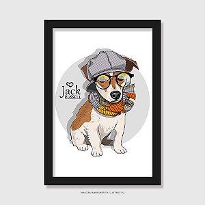 Quadro Jack Russell de Óculos e Cachecol - Modelo 1
