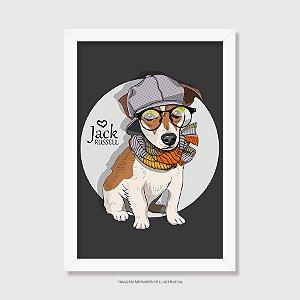 Quadro Jack Russell de Óculos e Cachecol - Modelo 2