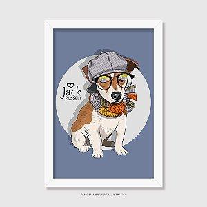 Quadro Jack Russell de Óculos e Cachecol - Modelo 4