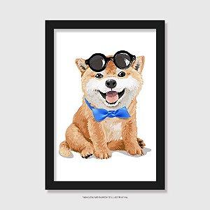 Quadro Akita Filhote de Óculos e Gravatinha - Modelo 1