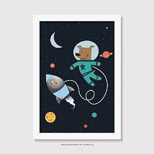 Quadro Astronauta - Cachorro e Urso no Espaço